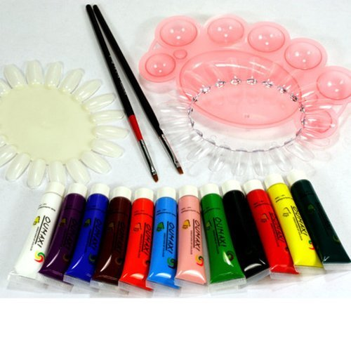 12 COLOUR 3D NAIL ART TIP & BODY ACRYLIC PAINT +BRUSH+PALLET+TIPS WHEEL KIT