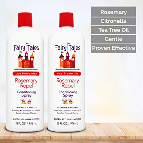 Fairy Tales Rosemary Repel Leave In Conditioning Spray Refill For Lice Prevention | 32 Fl. Oz. | 2 P