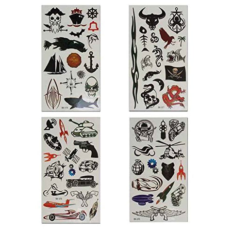 Set of 8 Halloween Scared Tattoo Stickers, Disposable and Waterproof [F] #01