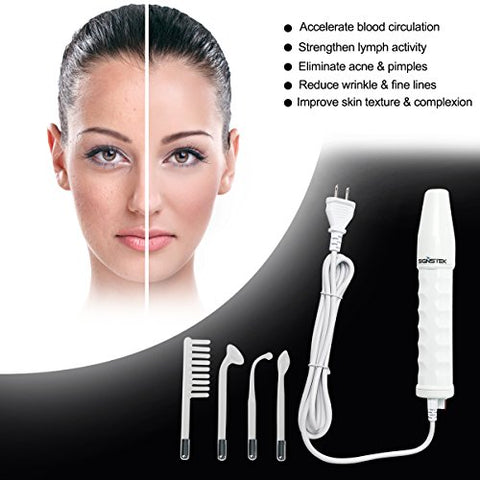 Signstek Portable High Frequency Face Wand Facial Machine for Skin Tightening, Acne Wrinkles Remover, Puffy Eyes