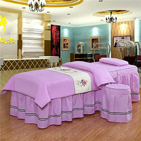 KE & LE Massage Table Sheet Sets, 4 Pieces Pure Color Bedspread Face Rest Hole Fitted Bed Cover Dust Ruffles Pleated Bedspreads Customizable-A 185x70cm