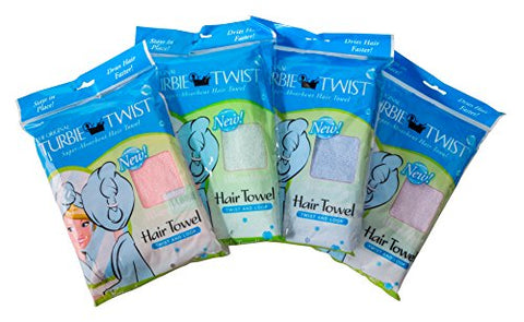 Turbie Twist Microfiber 4 pack,Pink, Purple, Blue, Aqua