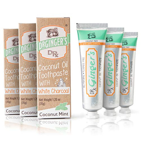 Dr. Ginger's Coconut Oil Toothpaste with White Activated Charcoal, 1.25 oz, 3 Count (Travel Size) - Coconut Mint Flavor