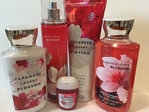 Bath & Body Works JAPANESE CHERRY BLOSSOM Lotion ~ Cream ~Fragrance Mist ~ Shower Gel + Small Sanitizing Hand Gel Lot of 5