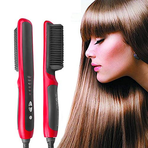 Hair Straight Electric Hair Straightener Steam Hot Comb Beard Straightener Styler Brush Hair Styling Tools for Women #QF-12