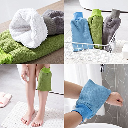 Body Exfoliating Mitts Bath Brushes Shower Gloves Bath Gloves-Gray