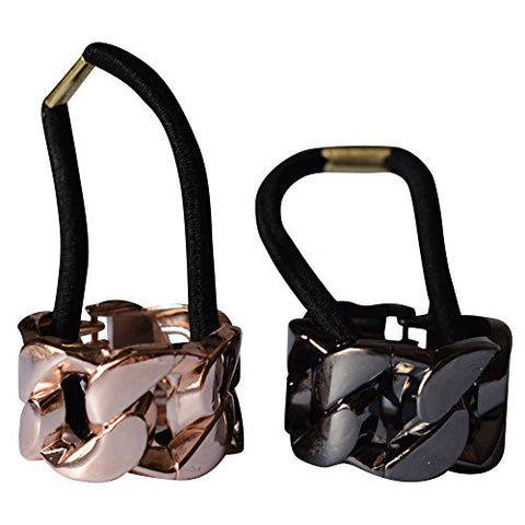 Bzybel Womens 2 pcs Alloy Metal Glitter Cuff Wrap Ponytail Holder Hair Tie Fashion Accessory Set