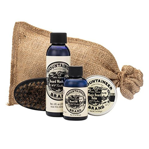Beard Grooming Care Kit for Men by Mountaineer Brand | Beard Oil (2oz), Conditioning Balm (2oz), Wash (4oz), Brush (WV Timber)