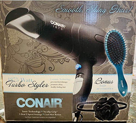 Conair 1875 Watt Turbo Styler Hair Dryer Ionic Technology V25476 Black/Chrome