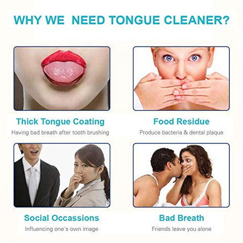 Eight Horses-T Stainless Steel Tongue Scraper Cleaner - Fresh Breath Tongue Scrapers Medical Grade Metal Tongue Scraping Cleaner with Carrying Case for Oral Care