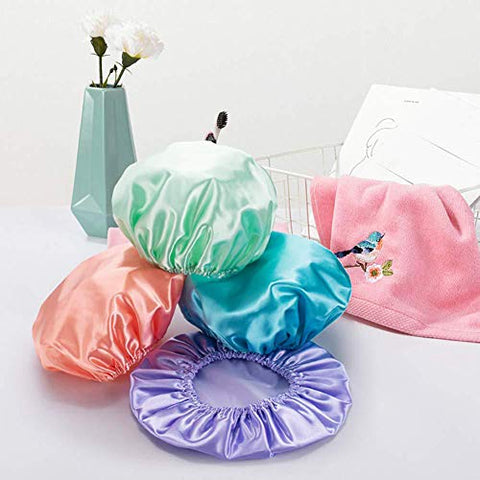 ExhilaraZ Hot New Women Shower Hat Waterproof Satin EVA Lined Bath Hair Protection Cap Bonnet 4Pcs Pink + Green + Purple + Blue