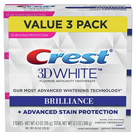 Crest Toothpaste 3 D White Brilliance Vibrant Peppermint, 4.1oz (Pack Of 3)
