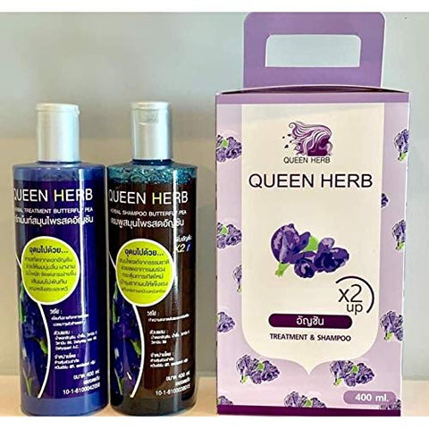 Queen Herb Nourish Butterfly Pea Care Loss Pea Treatment Hair Shine Shampoo Butterfly & Hair Long