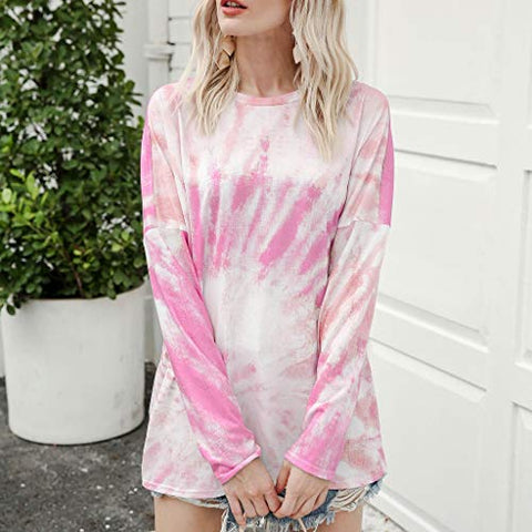HHoo88 Women's Fashion Casual Tie-Dye Crewneck Blouse Patchwork Long Sleeve Loose Pullover Tops Shirt Pink