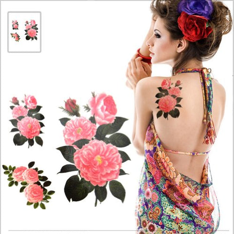 Pink Chinese Peony Blossom Body Tattoo Stickers Waterproof Fake Tattoos