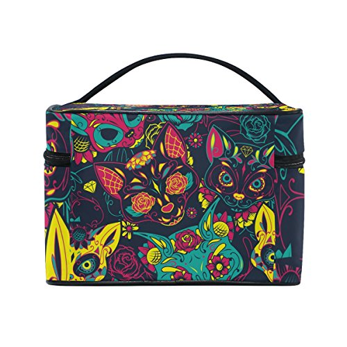 Cosmetic Bag Floral Skull Cat Women Makeup Case Travel Storage Organizer