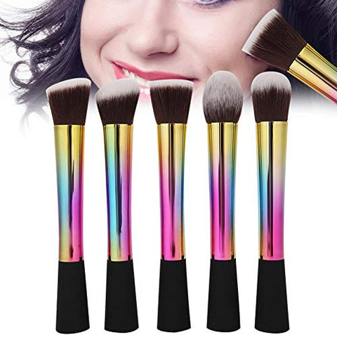 5pcs Makeup Brush Set, Professional Makeup Brush Portable FOUNDATIONs Brush with Colorful Handle Mini Blush Brush Soft Make Up Brushes Kit for Full Face and Eye Shadows