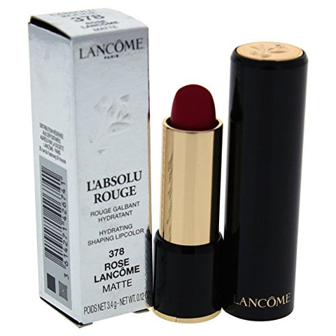Lancome L'Absolu Rouge Hydrating Shaping Lip Color For Women, No.378 Rose Lancome Matte, 0.12 Ounce