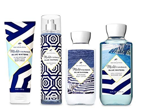 Bath and Body Works Mediterranean Blue Waters Deluxe Gift Set - Body Lotion - Body Cream - Fragrance Mist & Shower Gel -Full size