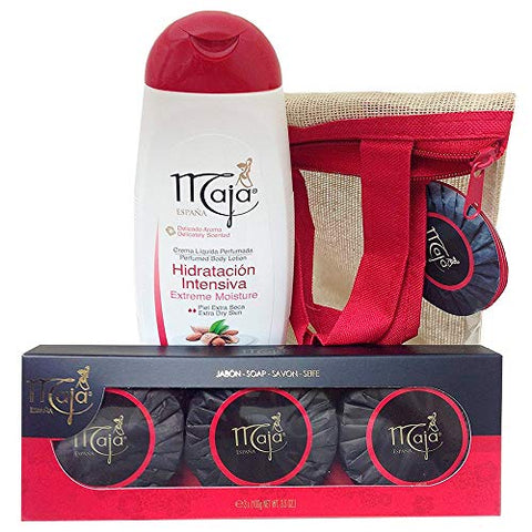 Maja Gift Set (3 x 3.5 Oz. Soaps & Body Lotion 13.5 Oz.) With Free Carrying Case