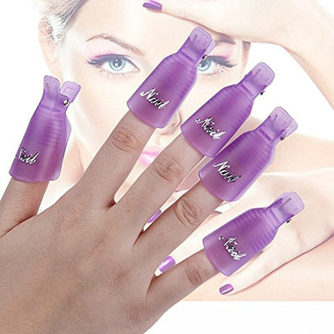 10x Reusable Salon DIY Nail Art Tool Acrylic UV Gel Polish Remover Soaker Cleaner Clip Cap Wrap (Purple)