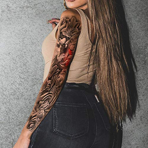 Leoars 4 Sheets Large Arm Temporary Tattoos and 4 Sheets Full Arm Sleeve Tattoo Sticker, Black Animal Eye Flower Fake Tattoos Sleeve Body Art for Women Men