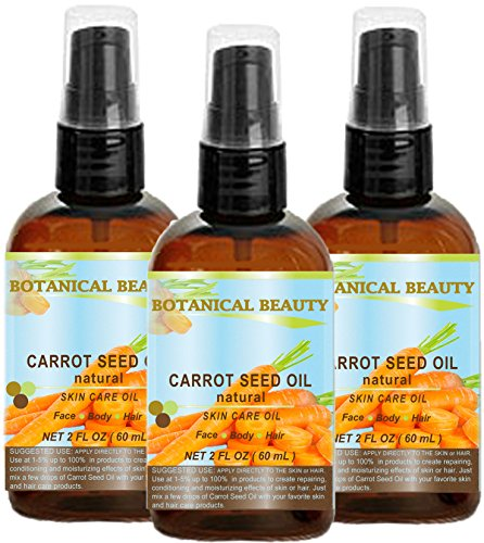 "CARROT SEED OIL 100 % Natural Cold Pressed Carrier Oil. 2 Fl.oz.- 60 ml. Skin, Body, Hair and Lip Care. ""One of the best oils to rejuvenate and regenerate skin tissues. by Botanical Beauty"