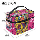 Image of Cosmetic Bag Floral Skull Women Makeup Case Travel Storage Organizer