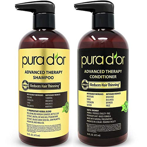 Pura D'or Advanced Therapy System Shampoo & Conditioner   Increases Volume, Strength And Shine, No S
