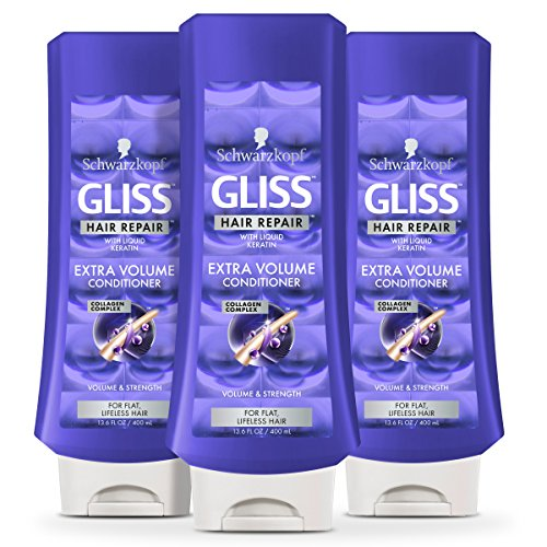 GLISS Hair Repair Conditioner, Extra Volume for Flat or Lifeless Hair, 13.6 Ounces (Pack of 3)