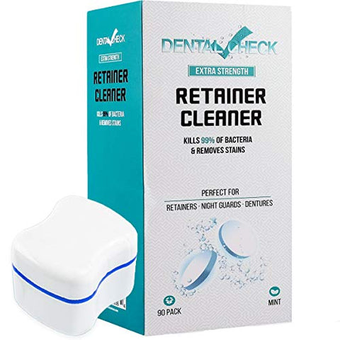 Dental Check Retainer & Denture Cleaning Tablets + Free Denture Case. 3 month Supply, Remove Bad Odors, Plaque, Stains from Dentures, Night Guards, Mouth Guards & Removable Appliances.