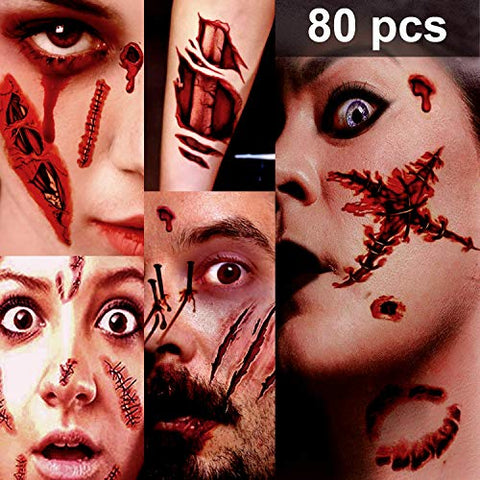 Zombie Makeup, Halloween Zombie Makeup Kit, Scar Tattoos, 5(Large)+6(Small) Pack Fake Scars Tattoos, Halloween Makeup Kit, Zombie Makeup Kit for Kids and Adults, Healthy, Waterproof, Long Last