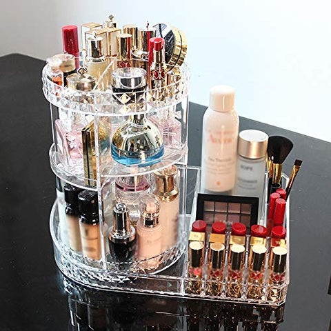 Rotating Makeup Organiser,Bathroom Storage Includes 360 Rotating Stand And Adjustable Trays, Easy Access To Jewellery And Cosmetics,34X36x24cm