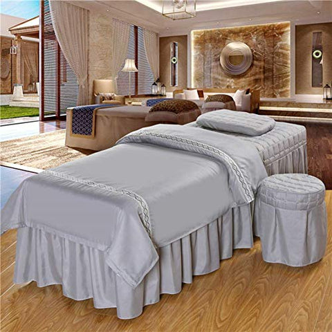 Massage Table Sheet Sets,Beauty Bed Cover Four-Piece Set Soft Cotton Facial Bed Cover Physiotherapy Bed Special Square Head use- Natural-Gray 190x70cm(75x28inch)
