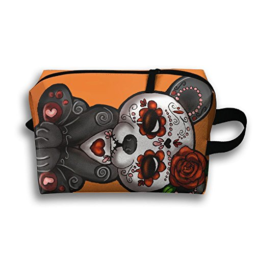 Women's Travel Case Cosmetic Storage Bags Sugar Skull Panda Makeup Clutch Pouch Organizer Bag Pencil Holder