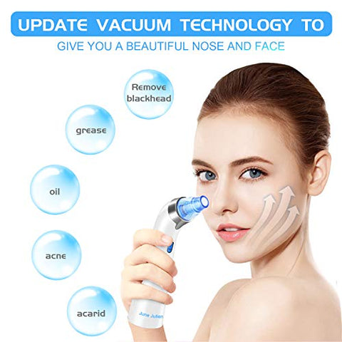 Blackhead Remover Vacuum - June Julien Facial Pore Cleanser Electric Acne Comedone Extractor Kit USB Rechargeable Blackhead Suction Tool with LED Display for Facial Skin(Blue)