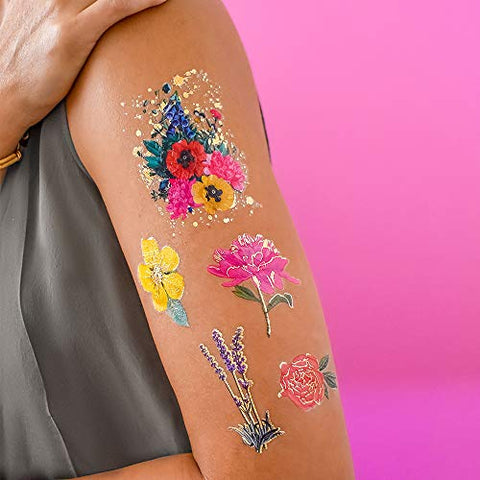 VINTAGE BLOOMS VARIETY SET includes 25 assorted premium waterproof metallic gold temporary foil party tattoos - flower tattoo, peony, rose, buttercup, vintage, temporary tattoo