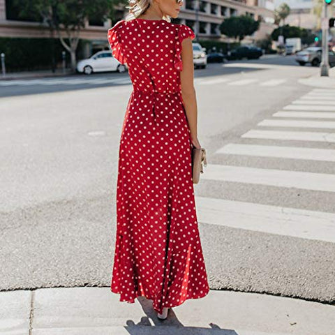KASAAS Polka Dots Print Boho Dress for Women Deep V-Neck Cap Sleeve Tie-Bow Classic Maxi Dresses(X-Large,Red)