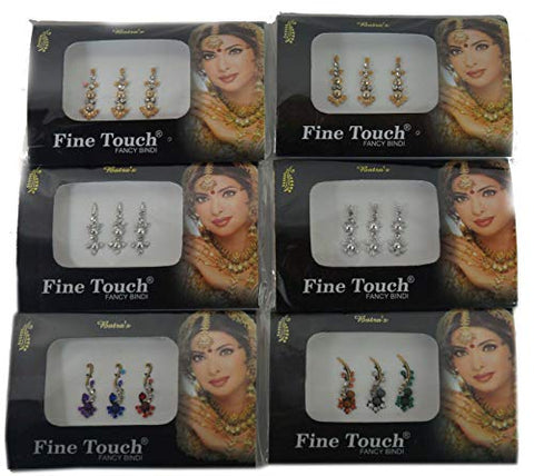 IFH Assorted Multi Color Bindi Temporary Tattoo Forehead Tikka Sticker Lot of 20 Packs