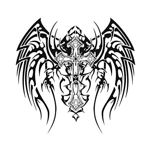 Gothic Winged Cross Temporary Tattoos (2-Pack) | Skin Safe | MADE IN THE USA| Removable