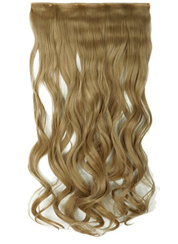 "FIRSTLIKE Long Curly Clip in Hair Extensions One Piece 24"" Ash Blonde 155G 3/4 Full Head"
