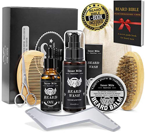 Isner Mile Beard Kit For Men, Grooming & Trimming Tool Complete Set With Shampoo Wash, Beard Care Gr