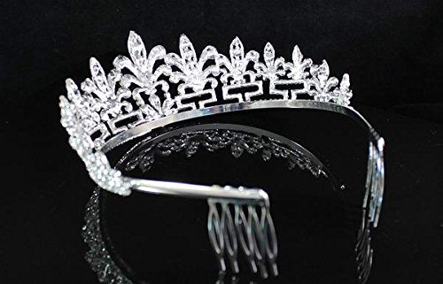 Janefashions Clear White Austrian Rhinestone Crystal Spencer Honeysuckle Tiara Crown with Hair Combs Veil Headband Headpiece Wedding Party Prom Bridal Pageant T1536 Silver