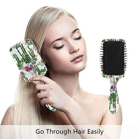 Linomo Hair Brush Cacti Llama Alpaca Air Cushion Massage Comb for Women Kids, Nylon Brush for Wet Dry Curly Hair