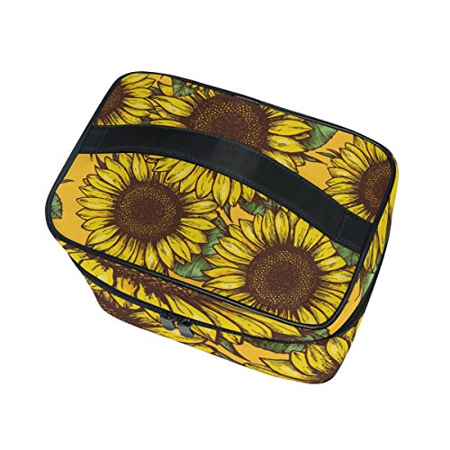 Cooper girl Summer Sunflowers Cosmetic Bag Travel Makeup Train Cases Storage Organizer