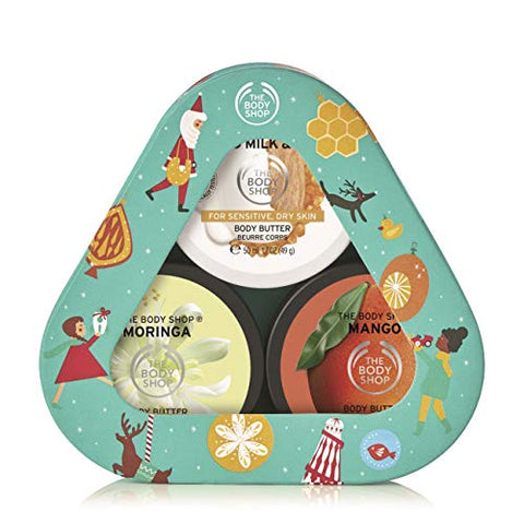 The Body Shop Butter Trio Gift Set, Includes Our Signature Scents, Mango, Almond Milk & Honey, and Moringa