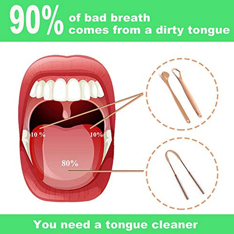 BRMDT Tongue Scrapers for Adults and Kids - Professional Tongue Cleaners Set for Oral Cleaning, Reduce Bad Breath, Medical Grade Stainless Steel Tongue Scrapers (3-in-1) with Carrying Case (Rose Gold)