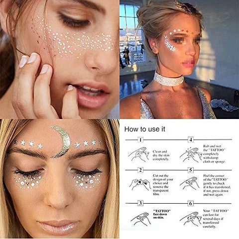 3 Sheets Face Tattoo Sticker Metallic Shiny Temporary Water Transfer Tattoo for Professional Make Up Dancer Costume Parties, Shows Gold Glitter