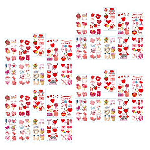 Minkissy Valentines Day Tattoo Sticker Cartoon Temporary Tattoo 25PCS Heart Shaped Stickers Tattoo Decals Party Favor Supplies