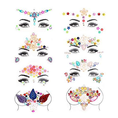 8 Set Face Body Jewels Mermaid Face Adhesive, Eyxformula Breast Jewels Body Gems Self Adhesive Rhinestone Body Stickers, Chest Gems Festival Face Glitter Body Jewel Pasties Tattoos for Women